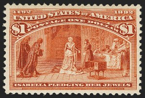 Sale Number 1150, Lot Number 842, 1893 Columbian Issue (Scott 230-245)$1.00 Columbian (241), $1.00 Columbian (241)