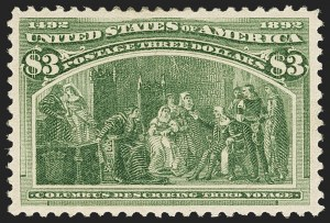 Sale Number 1150, Lot Number 848, 1893 Columbian Issue (Scott 230-245)$3.00 Olive Green, Columbian (243a), $3.00 Olive Green, Columbian (243a)