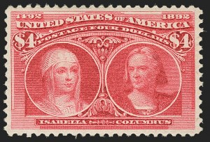 Sale Number 1150, Lot Number 853, 1893 Columbian Issue (Scott 230-245)$4.00 Columbian (244), $4.00 Columbian (244)