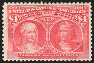 Sale Number 1150, Lot Number 854, 1893 Columbian Issue (Scott 230-245)$4.00 Rose Carmine, Columbian (244a), $4.00 Rose Carmine, Columbian (244a)