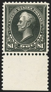 Sale Number 1150, Lot Number 891, 1895 Watermarked Bureau Issue (Scott 264-278)$1.00 Black, Ty. I (276), $1.00 Black, Ty. I (276)