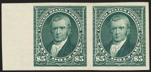 Sale Number 1150, Lot Number 899, 1895 Watermarked Bureau Issue (Scott 264-278)$5.00 Dark Green, Imperforate (278a), $5.00 Dark Green, Imperforate (278a)