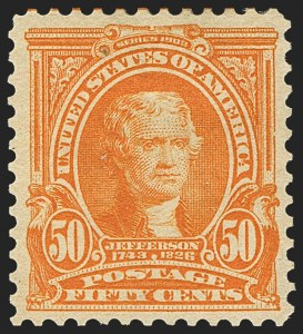 Sale Number 1150, Lot Number 951, 1902-08 Perforated Issues (Scott 300-313)50c Orange (310), 50c Orange (310)