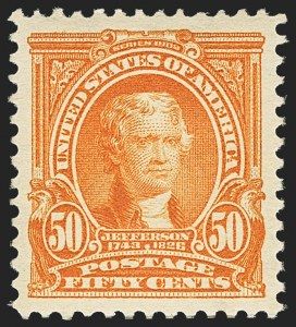 Sale Number 1150, Lot Number 953, 1902-08 Perforated Issues (Scott 300-313)50c Orange (310), 50c Orange (310)