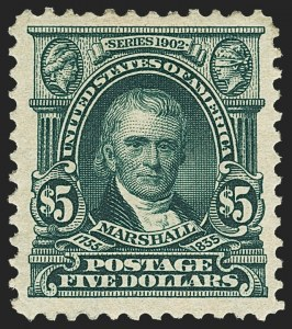 Sale Number 1150, Lot Number 962, 1902-08 Perforated Issues (Scott 300-313)$5.00 Dark Green (313), $5.00 Dark Green (313)