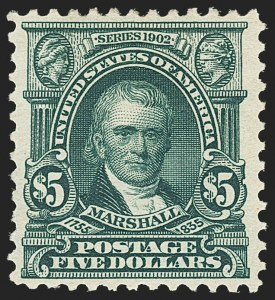 Sale Number 1150, Lot Number 963, 1902-08 Perforated Issues (Scott 300-313)$5.00 Dark Green (313), $5.00 Dark Green (313)