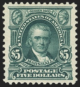 Sale Number 1150, Lot Number 964, 1902-08 Perforated Issues (Scott 300-313)$5.00 Dark Green (313), $5.00 Dark Green (313)