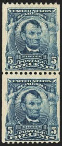 Sale Number 1150, Lot Number 973, 1908 First Government Coil Rarities (Scott 316-322)5c Blue, Coil (317), 5c Blue, Coil (317)