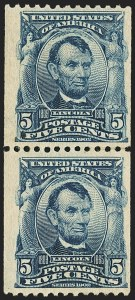 Sale Number 1150, Lot Number 974, 1908 First Government Coil Rarities (Scott 316-322)5c Blue, Coil (317), 5c Blue, Coil (317)