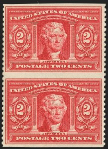 Sale Number 1150, Lot Number 988, 1904 Louisiana Purchase Issue (Scott 323-327)2c Louisiana Purchase, Vertical Pair, Imperforate Horizontally (324a), 2c Louisiana Purchase, Vertical Pair, Imperforate Horizontally (324a)