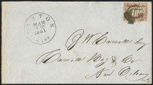 Sale Number 1151, Lot Number 1510, Independent and Confederate Use of U.S. StampsCanton Miss. Mar. 12, 1861, Canton Miss. Mar. 12, 1861