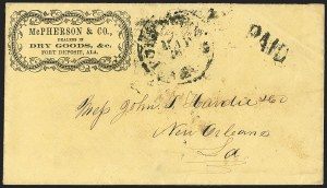 Sale Number 1151, Lot Number 1534, Handstamped Paid and Due MarkingsFort Deposit Ala. May, Fort Deposit Ala. May