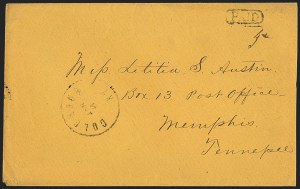 Sale Number 1151, Lot Number 1537, Handstamped Paid and Due MarkingsColumbus Ky. Jan. 6 (1862), Columbus Ky. Jan. 6 (1862)