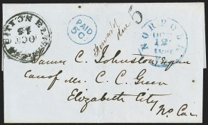 Sale Number 1151, Lot Number 1539, Handstamped Paid and Due MarkingsElizabeth City N.C. Oct. 15 (1861), Elizabeth City N.C. Oct. 15 (1861)
