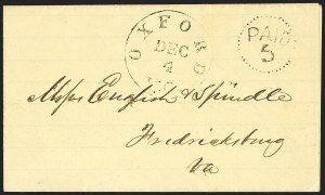 Sale Number 1151, Lot Number 1544, Handstamped Paid and Due MarkingsOxford N.C. Dec. 4 (1861), Oxford N.C. Dec. 4 (1861)