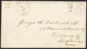 Sale Number 1151, Lot Number 1546, Handstamped Paid and Due MarkingsRidgeway N.C. Jul. 13 (1861), Ridgeway N.C. Jul. 13 (1861)