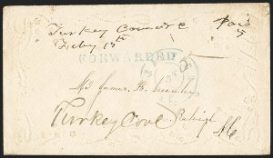 "Sale Number 1151, Lot Number 1547, Handstamped Paid and Due Markings""Turkey Cove N.C. Febry 15th"" (1862), ""Turkey Cove N.C. Febry 15th"" (1862)"