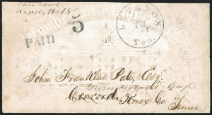 Sale Number 1151, Lot Number 1549, Handstamped Paid and Due MarkingsLebanon Ten. ? 13, 1861, Lebanon Ten. ? 13, 1861
