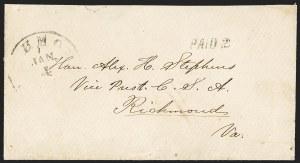 Sale Number 1151, Lot Number 1555, Handstamped Paid and Due MarkingsRichmond Va. Jan. 4 (1862), Richmond Va. Jan. 4 (1862)
