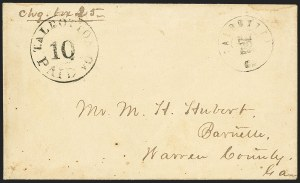 Sale Number 1151, Lot Number 1608, Postmasters Provisionals: Lenoir N.C. thru Uniontown Ala.Talbotton Ga., 10c Black entire (94XU2), Talbotton Ga., 10c Black entire (94XU2)