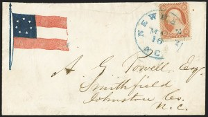 Sale Number 1151, Lot Number 1612, Confederate Patriotics: 7-Star thru 12-Star Flag DesignsNew Bern N.C, New Bern N.C