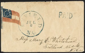 Sale Number 1151, Lot Number 1615, Confederate Patriotics: 7-Star thru 12-Star Flag DesignsEnfield N.C. Jul. 6, Enfield N.C. Jul. 6