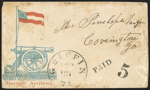 Sale Number 1151, Lot Number 1631, Confederate Patriotics: Cannon, Tent and Soldier DesignsGriffin Ga. Sep. 23 (1861), Griffin Ga. Sep. 23 (1861)
