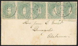 Sale Number 1151, Lot Number 1681, General Issues on Cover: Lithographs (Scott 3-5)2c Green (3), 2c Green (3)