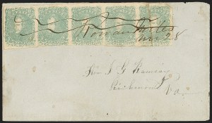 Sale Number 1151, Lot Number 1682, General Issues on Cover: Lithographs (Scott 3-5)2c Green (3), 2c Green (3)