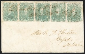 Sale Number 1151, Lot Number 1683, General Issues on Cover: Lithographs (Scott 3-5)2c Green (3), 2c Green (3)