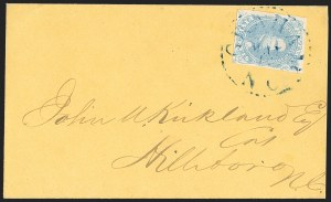 Sale Number 1151, Lot Number 1684, General Issues on Cover: Lithographs (Scott 3-5)5c Light Milky Blue, Stone 2 (4), 5c Light Milky Blue, Stone 2 (4)