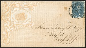 Sale Number 1151, Lot Number 1685, General Issues on Cover: Lithographs (Scott 3-5)5c Blue, Stone 2 (4), 5c Blue, Stone 2 (4)