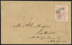 Sale Number 1151, Lot Number 1693, General Issues on Cover: Lithographs (Scott 3-5)10c Rose (5), 10c Rose (5)