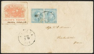 Sale Number 1151, Lot Number 1695, General Issues on Cover: Typographs (Scott 6-7)5c Light Blue, De La Rue (6), 5c Light Blue, De La Rue (6)