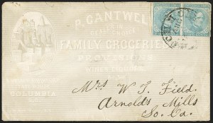 Sale Number 1151, Lot Number 1696, General Issues on Cover: Typographs (Scott 6-7)5c Light Blue, De La Rue (6), 5c Light Blue, De La Rue (6)