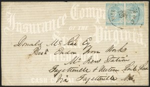Sale Number 1151, Lot Number 1697, General Issues on Cover: Typographs (Scott 6-7)5c Light Blue, De La Rue (6), 5c Light Blue, De La Rue (6)