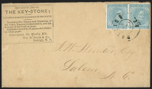 Sale Number 1151, Lot Number 1700, General Issues on Cover: Typographs (Scott 6-7)5c Light Blue, De La Rue (6), 5c Light Blue, De La Rue (6)