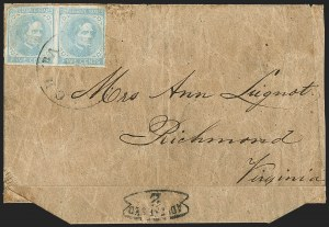 Sale Number 1151, Lot Number 1703, General Issues on Cover: Typographs (Scott 6-7)5c Blue, Local (7), 5c Blue, Local (7)