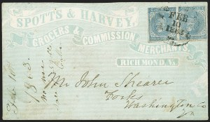 Sale Number 1151, Lot Number 1704, General Issues on Cover: Typographs (Scott 6-7)5c Blue, Local (7), 5c Blue, Local (7)