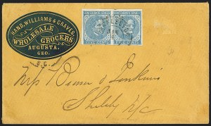Sale Number 1151, Lot Number 1706, General Issues on Cover: Typographs (Scott 6-7)5c Blue, Local (7), 5c Blue, Local (7)