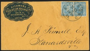 Sale Number 1151, Lot Number 1707, General Issues on Cover: Typographs (Scott 6-7)5c Blue, Local (7), 5c Blue, Local (7)