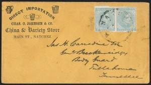 Sale Number 1151, Lot Number 1708, General Issues on Cover: Typographs (Scott 6-7)5c Blue, Local (7), 5c Blue, Local (7)