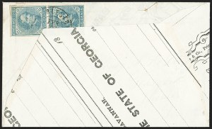 Sale Number 1151, Lot Number 1709, General Issues on Cover: Typographs (Scott 6-7)5c Blue, Local (7), 5c Blue, Local (7)