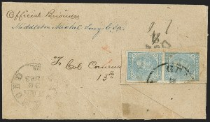 Sale Number 1151, Lot Number 1710, General Issues on Cover: Typographs (Scott 6-7)5c Blue, Local (7), 5c Blue, Local (7)
