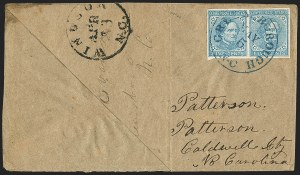 Sale Number 1151, Lot Number 1711, General Issues on Cover: Typographs (Scott 6-7)5c Blue, Local (7), 5c Blue, Local (7)