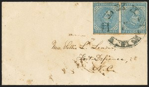 Sale Number 1151, Lot Number 1712, General Issues on Cover: Typographs (Scott 6-7)5c Blue, Local (7), 5c Blue, Local (7)