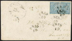 Sale Number 1151, Lot Number 1713, General Issues on Cover: Typographs (Scott 6-7)5c Blue, Local (7), 5c Blue, Local (7)