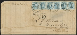 Sale Number 1151, Lot Number 1714, General Issues on Cover: Typographs (Scott 6-7)5c Blue, Local (7), 5c Blue, Local (7)