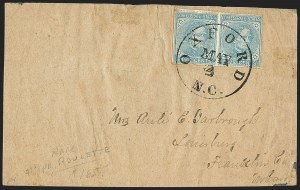 Sale Number 1151, Lot Number 1715, General Issues on Cover: Typographs (Scott 6-7)5c Blue, Local, Oxford N.C. Roulette (7 var), 5c Blue, Local, Oxford N.C. Roulette (7 var)