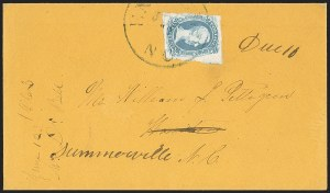 "Sale Number 1151, Lot Number 1725, General Issues on Cover: Engraved (Scott 8-10)10c Blue, ""TEN"" (9), 10c Blue, ""TEN"" (9)"
